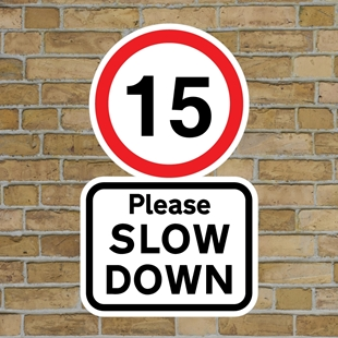 Picture of 15 Please SLOW DOWN sign
