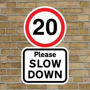 Picture of 20 Please SLOW DOWN sign