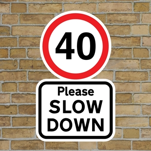 Picture of 40 Please SLOW DOWN sign