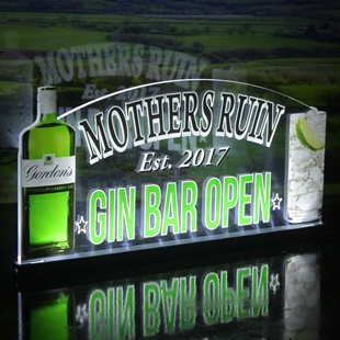 Picture of Gin Bar Custom Home Bar Light Up LED Sign