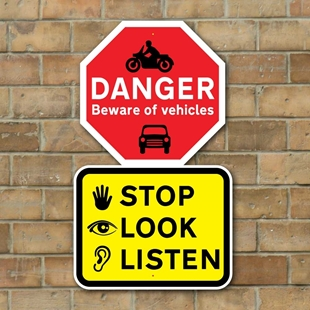 Picture of STOP LOOK LISTEN Sign