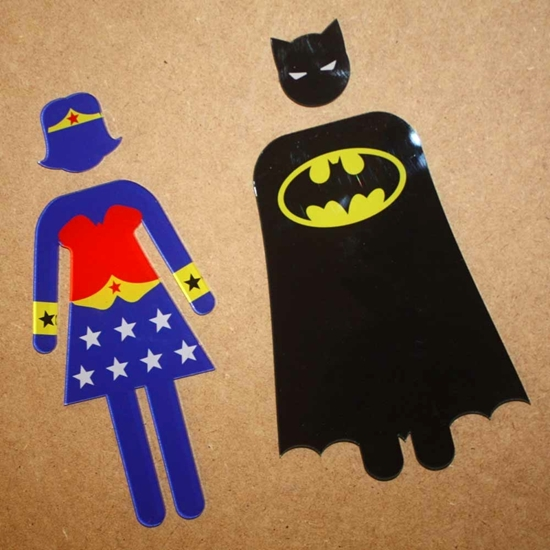 Picture of Batman & Wonder Woman Toilet signs