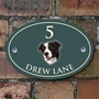 Picture of Collie Dog Oval Personalised House Plaque
