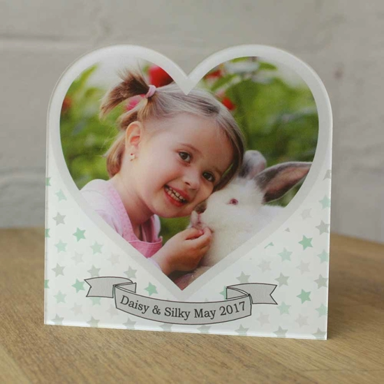 Picture of Personalised Acrylic Photo Picture Frame, Heart Photo Picture