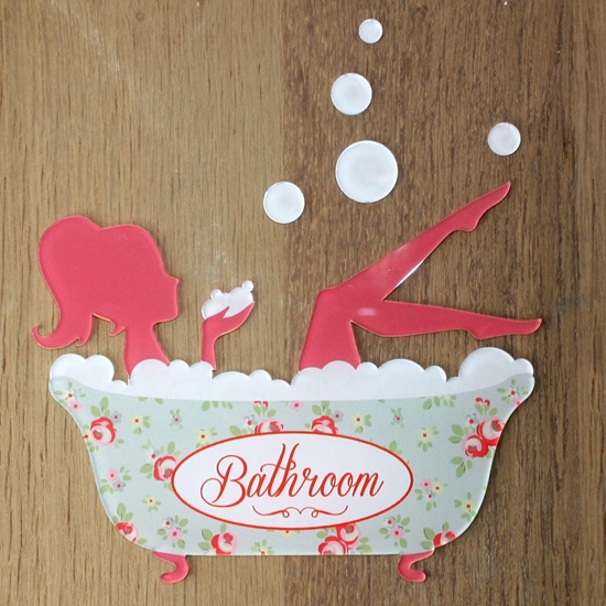 Picture of Acrylic Bathroom door sign, Shabby Chic