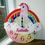 Picture of Cute Unicorn Personalised Girls Bedroom Clock