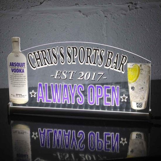 JAF Graphics. LED Light up Vodka Bar Sign
