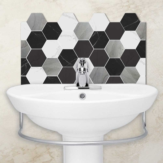 Picture Of Slate Hexagon Tile Effect Basin Splash Back