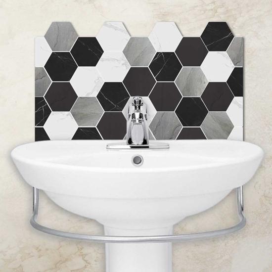 Picture of Slate Hexagon Tile Effect Basin Splash back