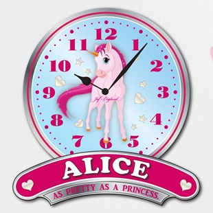 Picture of Personalised Pink Girls Unicorn Clock