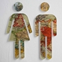 Picture of Toilet Door Man & Woman Symbol, Bathroom Sign, Vintage Map Design