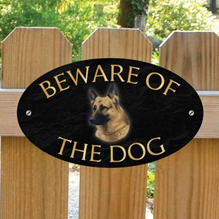 Picture of German Shepherd Beware of The Dog Sign