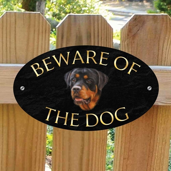 Picture Of Rottweiler Beware The Dog Gate Sign