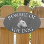 Picture of English Bull Terrier Beware of The Dog Gate Sign