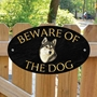 Picture of Husky Beware of The Dog Gate Sign