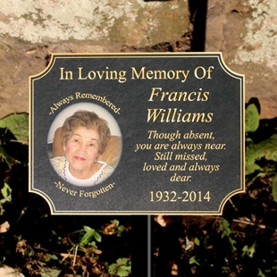 Picture of Scalloped Corner Stone Effect Photo Memorial Sign
