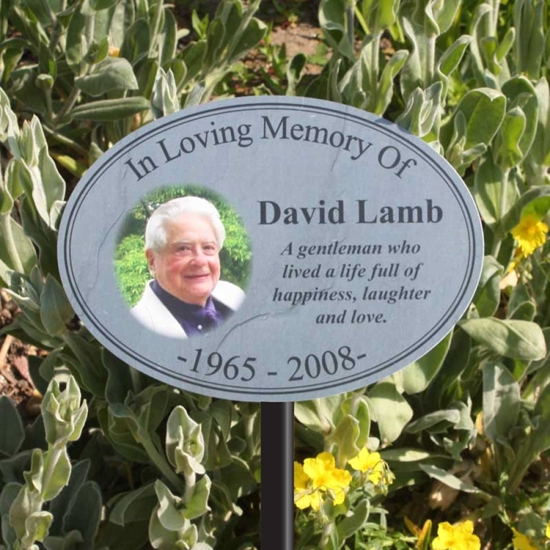 Picture of Oval Stone Effect Photo Memorial Sign