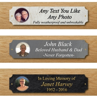 Picture of Outdoor Photo Memorial Bench Plaque