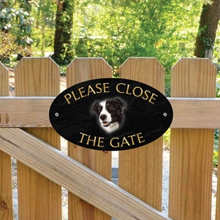 Picture of Border Collie Please Close The Gate Sign