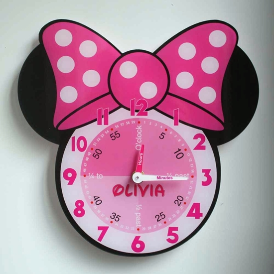 Picture of Personalised Minnie Mouse Clock, Learn to tell the time clock