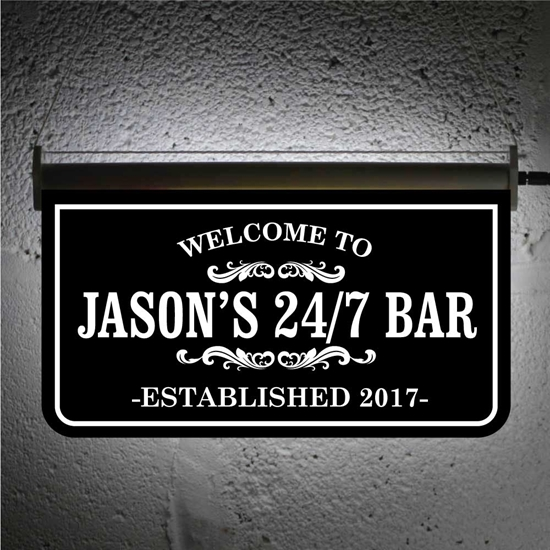Picture of Black & White Hanging LED Bar Sign