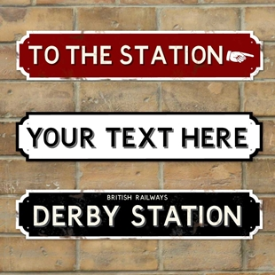 Picture of Rusty Vintage Railway Station Sign Personalised Old Train Sign
