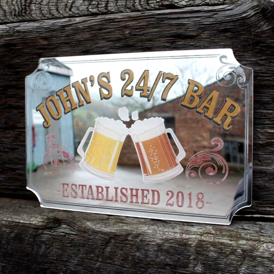 Picture of Personalised Vintage Style Pub Mirror with pint logo