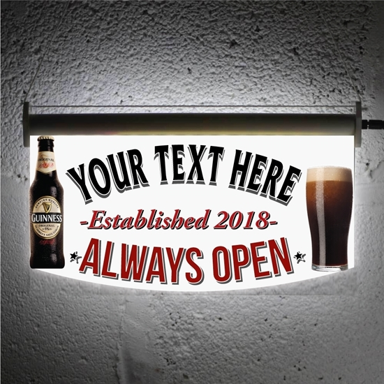 Picture of Light-up Bar Sign with Guinness and bottle logo