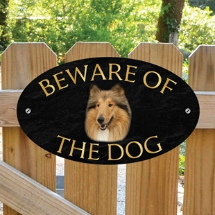 Picture of Rough Collie Beware of The Dog Sign