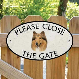 Picture of Please Close The Gate Rough Collie Sign