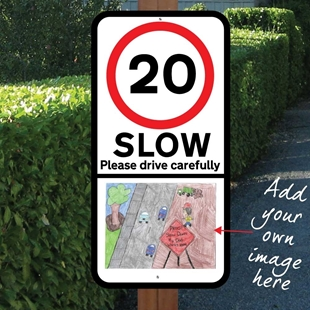Picture of Slow Down Children Speed Sign With Image