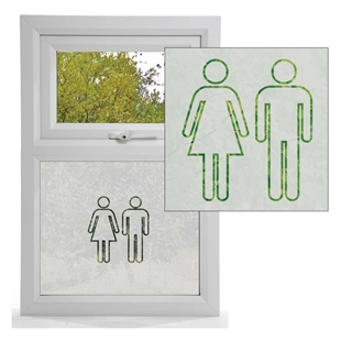 Picture of Man & Woman Symbol Etched Glass Panel