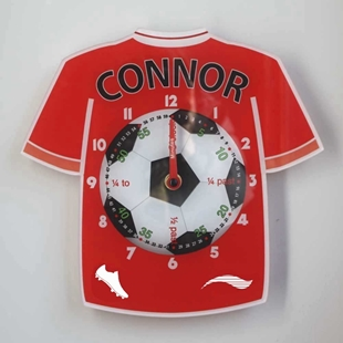 Picture of Personalised Football Shirt Clock, Learn to tell the time clock
