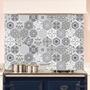 Picture of Grey Patterned Tile Glass Splashback