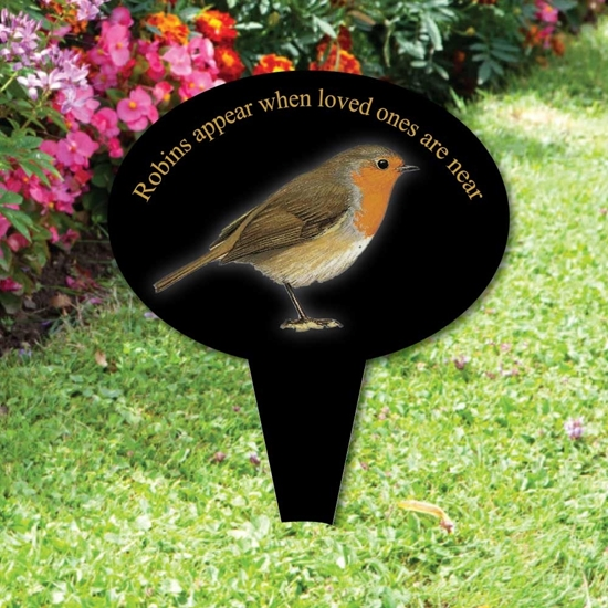 Picture of Memorial oval grave sign,  Robins appear when loved ones are near