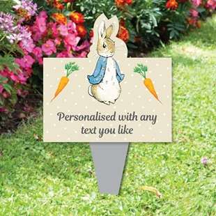 Picture of Memorial Baby funeral verse Child Grave Ornament Personalised Peter Rabbit Sign