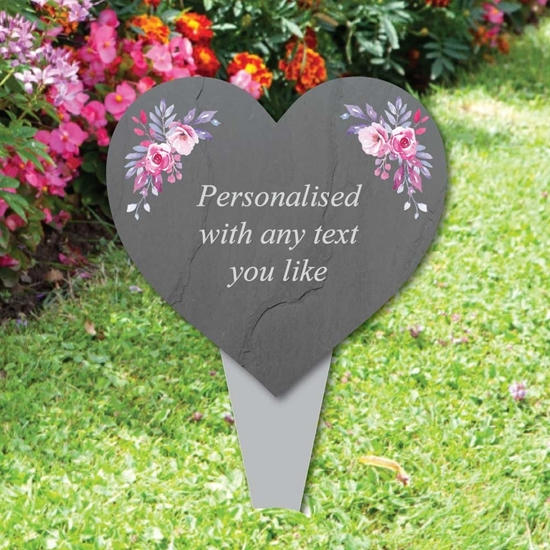 Picture of Personalised Heart Memorial Plaque with roses