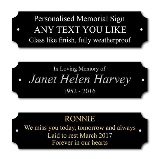 Picture of Black Personalised Memorial Plaque, Bench In Memory of Sign, Grave marker