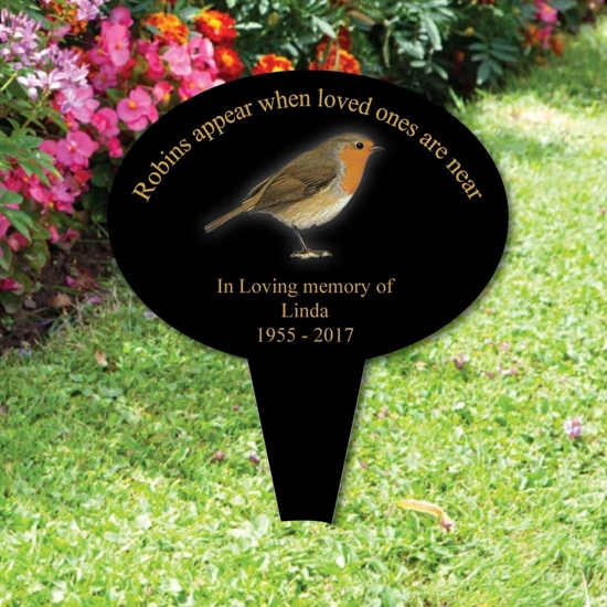 Picture of Personalised Robin memorial plaque + spike