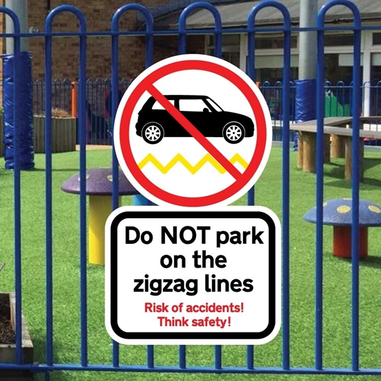 Picture of Do not park on zigzag line signs