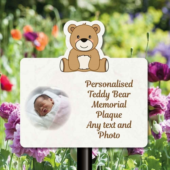 Picture of Cute Teddy Bear Baby Grave Memorial Sign on Stake