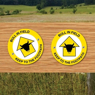 Picture of BULL IN FIELD Way Marker Post Signs