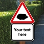 Picture of Slow Hedgehog Road Safety Sign - Black & White