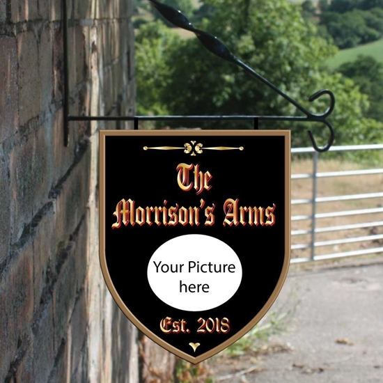 Picture of Shield Shaped Hanging Sign  - add your own text & image