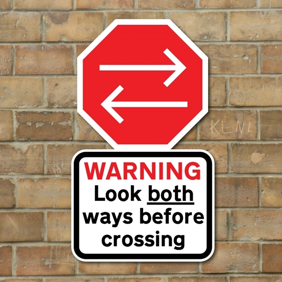 Picture of Look both ways  pedestrian safety sign
