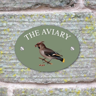 Picture of Personalised Waxwing Bird House Sign