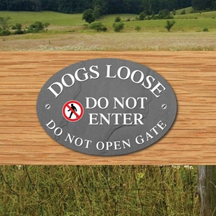 Picture of DOGS LOOSE Sign, NO ENTRY Pet Gate Sign