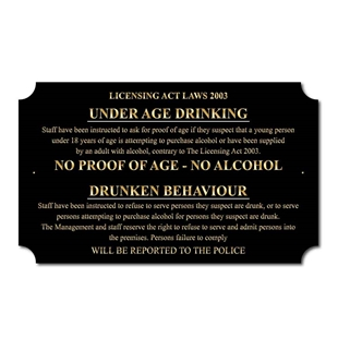 Picture of Under age drinking bar sign