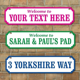 Picture of Personalised Family Name plaque, Vintage Custom Road Sign + COLOURS