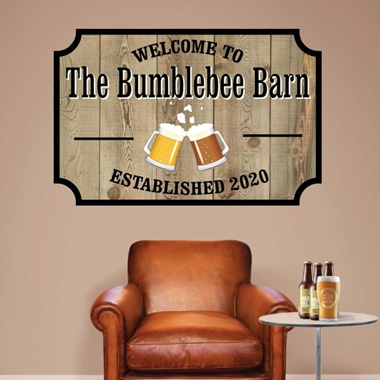 Picture of Personalised Bar Sign Wall Sign Sticker - Wood Effect